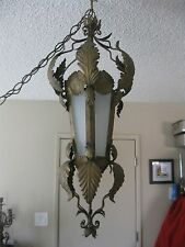 LRG Arts & Crafts Style Brutalist Smoke Slag Glass Swag Hanging Lamp Jere Style