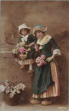 """Traditional Dutch Costumes, Lady girl flowers """"Blatino-Bromide"""" 1922"""