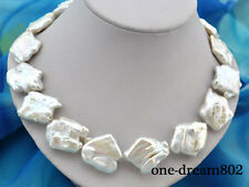 "Rare 18"" 23X29mm baroque white keshi reborn pearl necklace"