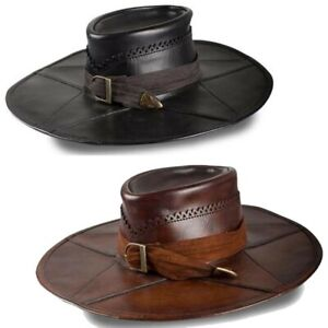 Wide Brimmed Witch Hunter Leather Hat for Stage, Costume & Re-enactment