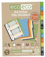 A4 Divisores Archivo Para De Anilla Carpetas 1-12 - 50% Material Reciclado