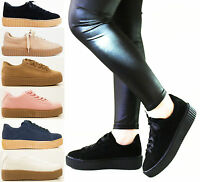LADIES WOMENS FLAT SUEDE PLATFORM LACE UP GOTH PUNKY CREEPER CASUAL SHOES SIZE
