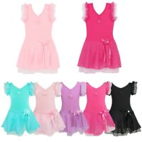 Kids Girls Gymnastics Ballet Leotard Dancewear Tutu Dress Sports Skating Costume