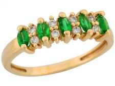 10k or 14k Yellow Gold Simulated Emerald White CZ Accent Petite Ladies Band Ring