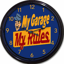 My Garage, My Rules Auto Motor Repair Mechanic Cars Truck Wall Clock Retro 10""