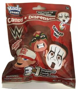 Radz Foamz WWE Candy And Dispenser Mini Poster 1 Superstar Inside Clip Included