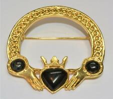 Goldtone Black Stones Irish CLADDAGH Shape Pin Brooch