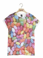 BATCH1 JELLY BEANS ALL OVER FASHION PRINT NOVELTY JELLY SWEETS UNISEX T-SHIRT