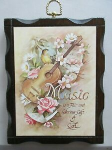 """Music Wooden Plaque """"Music Is A Fair And Glorious Gift From God"""""""