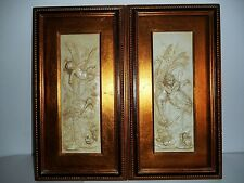 Vintage Angles, Cherubs Bas Plaster Relief wall Hanging Plaque