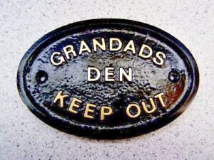 GRANDADS DEN KEEP OUT GARDEN SHED/GARAGE WALL PLAQUE WALL SIGN - BRAND NEW