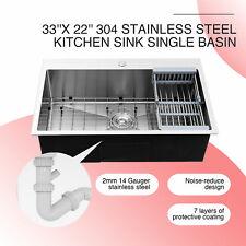 "Top Mount Kitchen Sink w/ Tray Drain Set Waste Disposal Adapter 33"" x 22"" x 9"""