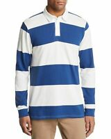 Pacific & park Striped Rugby Shirt White Navy Size Large L