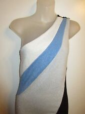 Marciano M Dress Bodycon Black Metallic Silver Blue White One Shoulder Party