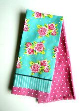Tea Towel Set of 2 Kitchen Flower Vintage Rose Polkadots Pink Light Blue Linen
