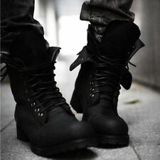 Mens Punk Rock Cool Military Combat Retro Lace Up Motorcycle Ankle Boots Shoes
