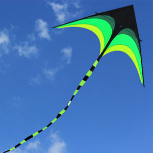 NEW 1.6m Power Large Triangle Kite Outdoor Fun Sports Delta Toys With fly Tools