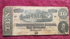 1864 Civil War Confederate Money 10$ Note Bill Richmond Virginia