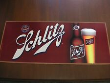 "2007 Schlitz Brewing Milwaukee Wis Double Sided Beer Sign Cardboard 34"" x 14.25"""