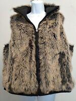 Women's Black Tan Faux Fur Reversible Vest Jacket Zip Pockets Sleeveless size XL