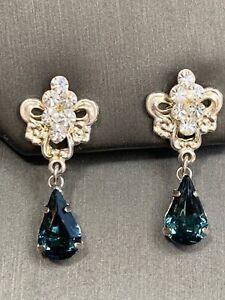 Ladies Women's Vintage SP WLIND Pear Shaped Blue Earrings Glass rhinestone Pierc