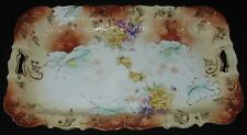 ANTIQUE HP PORCELAIN RECTANGULAR SERVING TRAY UNMARKED GERMANY PIERCED HANDLES