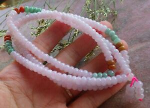 Certified 3 Color Natural A JADE Jadeite Circle beads Necklace 26 inches 581792