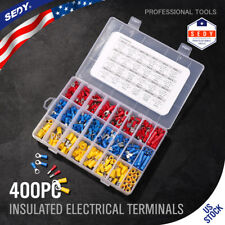 Assorted Electrical Wiring Connectors Crimp Terminals Set Kits Insulated-400PCS