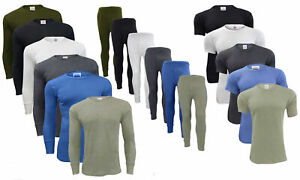 Mens Thermal Long Johns Bottoms Trousers Long & Short Sleeve T-Shirt Top and Set