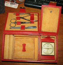 1950's Griffon Red Leather Vanity Travel Jewelry Ring Case w/ Kaiser Alarm Clock
