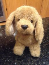 """Collectible Russ Berrie """"Puddles"""" Sitting Plush Dog Stuffed Animal brown puppy"""