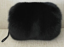 Fox Fur Handmuff Black New made in usa.Hand muff down satin lining