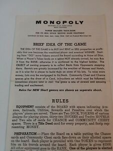 Vintage 1961 Monopoly Parker Brothers Rules Replacement Piece
