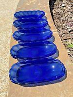 Anchor Hocking (5) Cobalt Blue Glass MCM Vintage Relish Banana Split Oval Dish