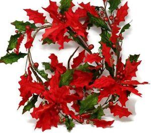 Davies Red Velvet Artificial Poinsettia Flower Christmas Garland x 190cm