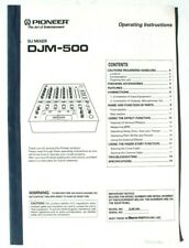 Pioneer DJM-500 Professional DJ Mixer OPERATING INSTRUCTIONS Manual