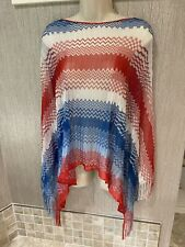 MISSONI Poncho Top knit Red white blue 4th of July America Silky One size