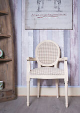 French Louis Armchair Frame Vintage Shabby Chic Gingham Tartan Chair Cream Beige