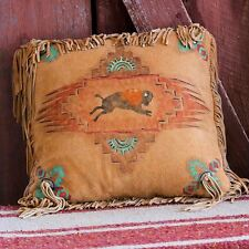 "Western Southwest Handmade Deerskin Suede Leather Pillow 16""x16"" BUFFALO SPIRIT"