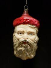 Beautiful Vintage 1920's Santa Weinachtsmann Head Flesh Face Glass Ornament