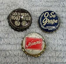 3 Vintage Bottle Caps Hamm's Beer O-So Grape Gold Medal Root Beer Pop FREE S/H