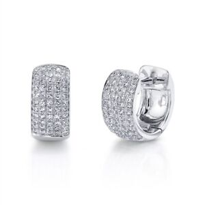 14K White Gold Pave Diamond Huggie Earrings Wide Round Cut Natural 0.25 TCW