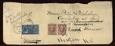 USA #282C Pair, E5 on 1899 Piece of File Folder Schenectady NY to KS PH4123