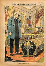 Caricature du Milliardaire par Brousset Cercueil Antiquité  1913 ILLUSTRATION