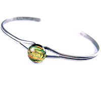 """Dichroic GLASS Cuff Bracelet ADJUSTABLE Gold Copper Striped Fused Tiny 1/4"""" 8mm"""