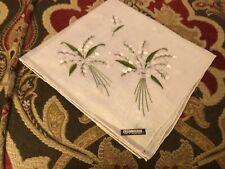 Vintage Celebritees Semi Sheer White Lily Of The Valley Hankie