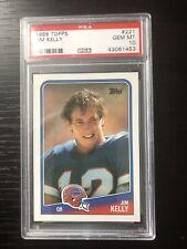 1988 Topps Jim Kelly Buffalo Bills #221 Football Card.  PSA 10.  HOF