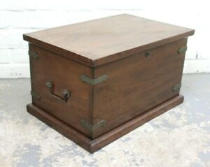 Antique Victorian Brass Bound Walnut & Zinc Lined Chest Box Trunk (Can Deliver)