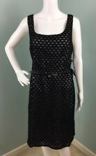 NWT Womens Adrianna Papell Black/White Sleeveless Belted Eyelet Dress Sz 14