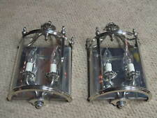 2-VERY RARE SILVER PLATED BRASS LIGHTOLIER SEMI-CIRCLE GLASS ANTIQUE SCONCES 2L